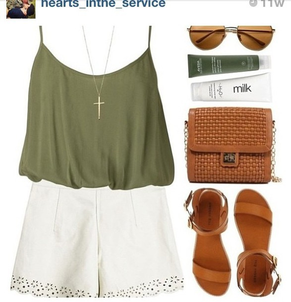 Shorts: tank top, cross necklace, army green, olive green, high ...