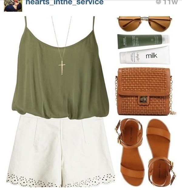 shorts tank top cross necklace army green olive green High waisted shorts flowered shorts blouse romper shoes outfit top green flowy strap top