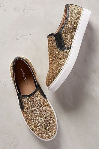 shoes glitter gold sparkle black slip-ons