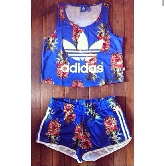 fashion is a playground shorts fashion shirt adidas adidas originals adidaswomen pineapple print crop tops tank top