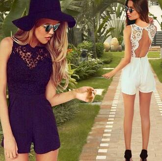 dress open back white white dress lace dress romper white lace playsuit