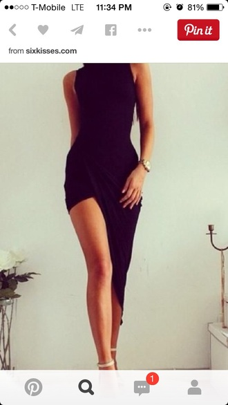 dress black bodycon dress black dress long dress high-low dresses shoes