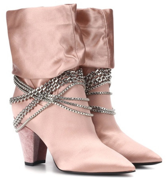 Self-Portrait Sadie satin ankle boots in pink