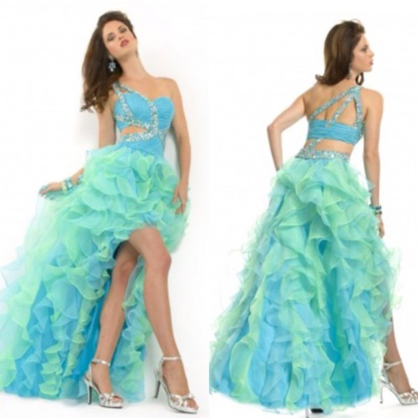 Dress: prom dress, homecoming dress, fashion, green dress, blue ...