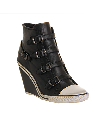 Ash thelma wedge buckle sneaker black nappa wax