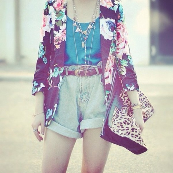 shorts pink flowers denim jacket High waisted shorts blue shirt necklace jacket bag