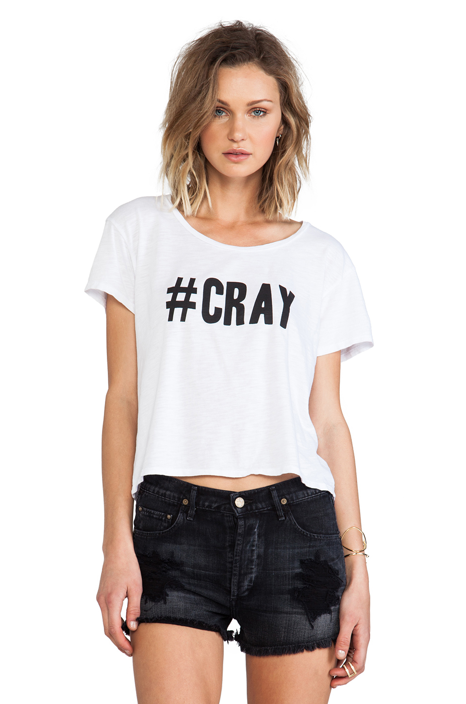 Feel the Piece x Tyler Jacobs #CRAY Crop Tee in Optic White | REVOLVE