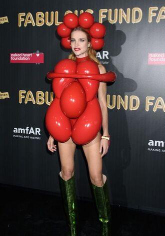 dress halloween natalia vodianova red halloween makeup halloween costume halloween accessory boots model off-duty