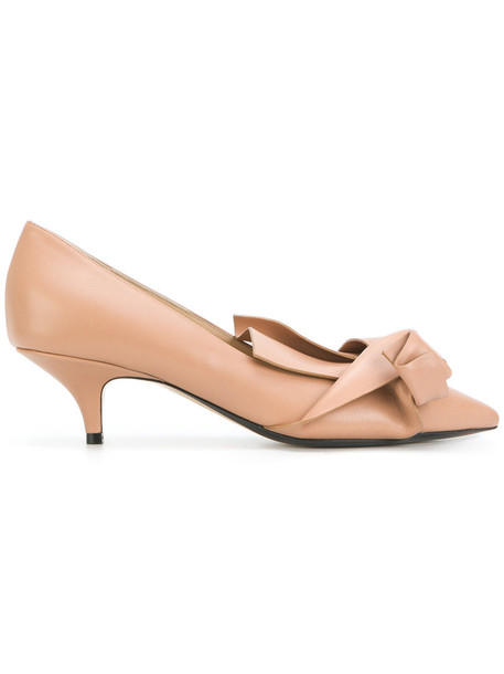 No21 pointed toe pumps women pumps leather nude shoes