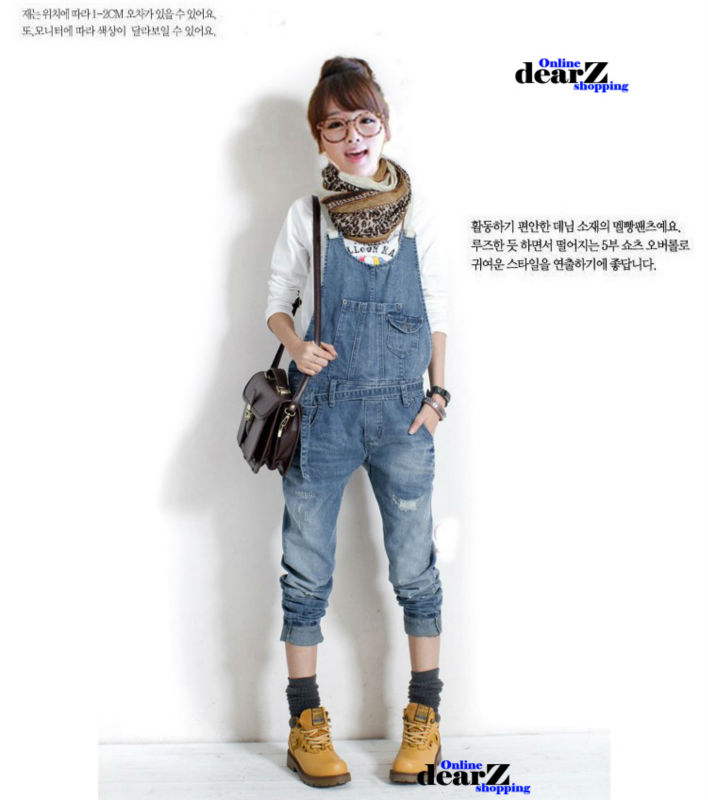 HOT selling 2013new Korean washing frayed denim overalls for women Jumpsuits Rompers Cute fashion Strap jeans I728 free shipping-in Jumpsuits & Rompers from Apparel & Accessories on Aliexpress.com