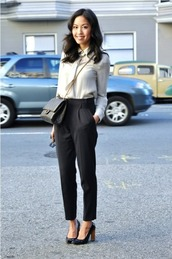 pants,white blouse,black trousers,black heels,blogger,black handbag