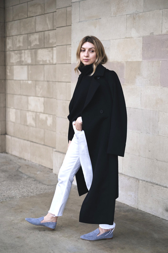 coat black coat tumblr black long coat long coat denim jeans white jeans shoes blue shoes