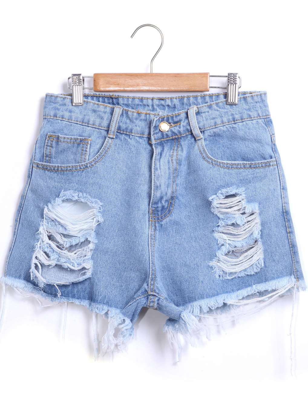 variety design amazing quality outlet on sale Blue Ripped Fringe Denim Shorts -SheIn(Sheinside)