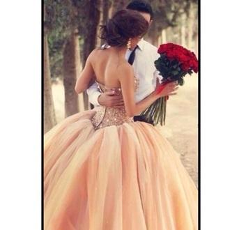 dress prom dress peach dress tulle dress
