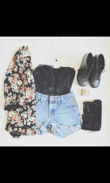 jacket shorts top boots purse peri.marie underwear bustier kimono floral