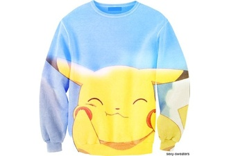 sweater crewneck sweater crewneck pokemon pikachu pika yellow blue sky clouds red white cardigan