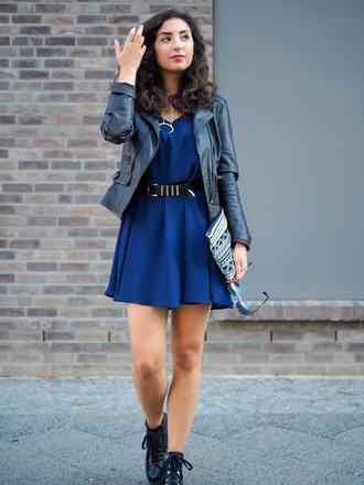 samieze blogger dress jacket shoes belt jewels date outfit mini dress blue dress black leather jacket