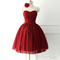 Sweetheart neckline tulle red short prom gown, bridesmaid dress - 24prom