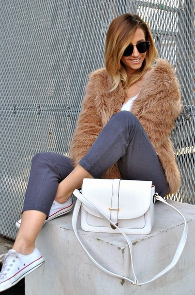 let's talk about fashion ! blogger grey pants fluffy fuzzy coat white bag camel fluffy coat minimalist bag cropped pants sunglasses sneakers low top sneakers converse white sneakers white converse