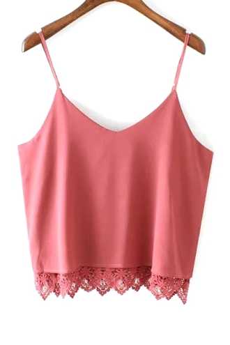 tank top pink lace spaghetti strap sleeveless lace splicing