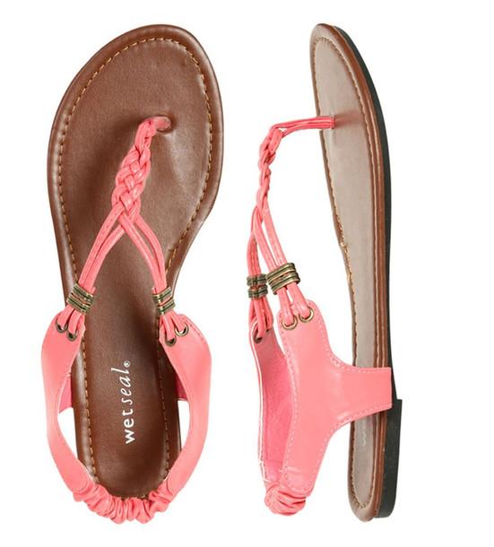 Shoes Pink Flat Sandals Sandals Cute Sandals - Wheretoget