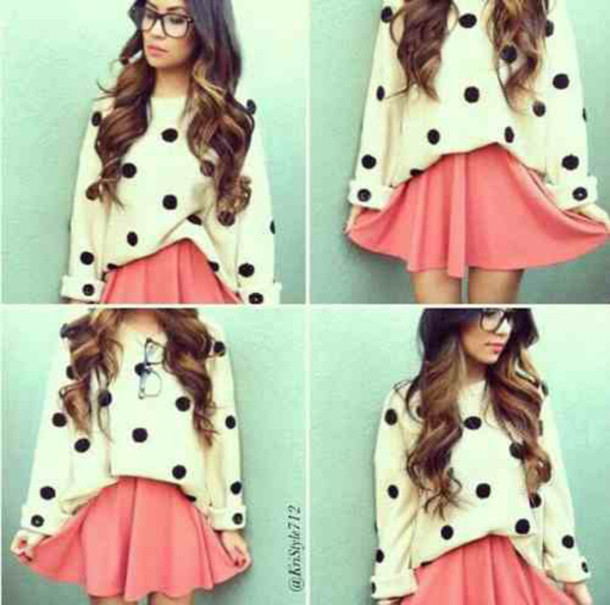cardigan coral orange pink white white t-shirt black black and white glasses skater skater skirt short skirt sweater polka dots print print beige winter outfits winter sweater tank top top t-shirt t-shirt with print band t-shirt shirt blouse sexy cute fashion style classy hot outfit streetwear stripes striped shirt neon high waisted high waisted skirt circle skirt banded skirt waisted knitwear knitted sweater knit skirt kawaii girl coxy hipster comfy oversized sweater dress skirt baggy pink skirt geek shoes sneakers bright sneakers new balance pattern colorful