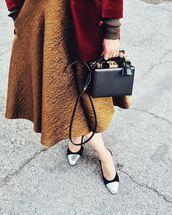 skirt,tumblr,gold skirt,gold,midi skirt,bag,black bag,shoes,chanel slingbacks,chanel,mid heel sandals