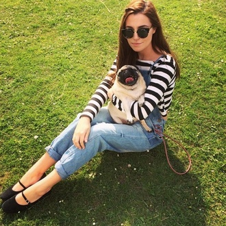 sunglasses adorable nature marzia cutiepiemarzia overalls stripes mary jane cateye sunglasses pug vintage flats