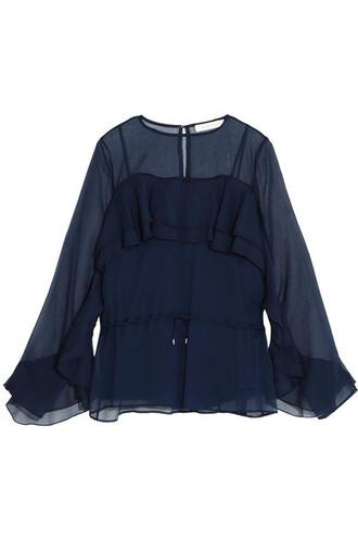 blouse chiffon blouse chiffon navy top