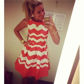 dress cute dress cute pink coral preppy preppy dress chevron white dress summer pretty