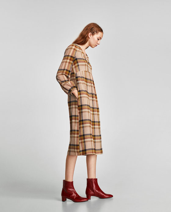 81680336 MIDI CHECK PRINT DRESS - View all-DRESSES-TRF | ZARA United Kingdom