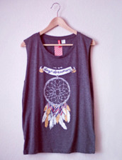 t-shirt,dreamcatcher,grey,dream catcher tank top,shirt,top,grey t-shirt