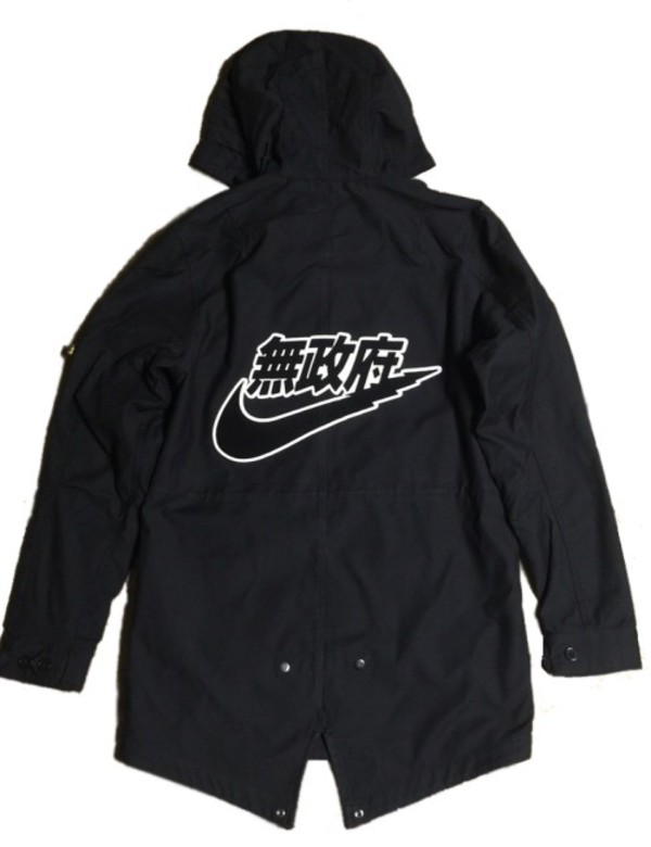 Coat Black Japanese Nike Bomber Jacket Streetwear