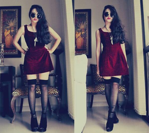 dress red velvet velvet dress black stockings goth hipster
