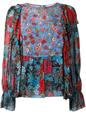 blouse women floral blue silk top