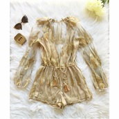 romper,gold,sheer,one piece