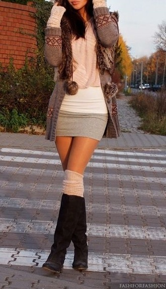 skirt clothes black boots cardigan pink scarf girly