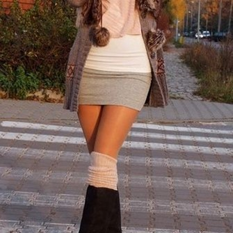 red lime sunday clothes girly cardigan skirt black boots pink scarf scarf red