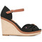 Tommy hilfiger - crossed front wedge sandals - women - leather/tactel/rubber - 40, black, leather/tactel/rubber