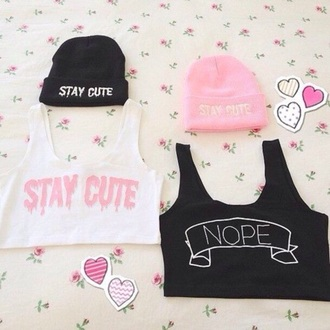 top tumblr outfit beanie crop tops