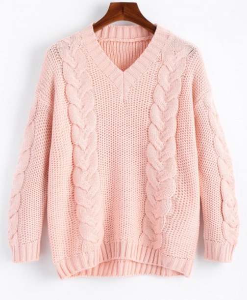 sweater girly sweatshirt jumper pink v neck knit knitted sweater