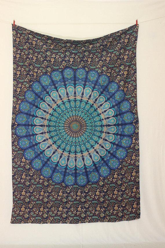 Blue Mandala Tapestry Wall Hanging Hippie Tapestry Bohemian Tapestries Cotton Tapestries Mandala Blanket Boho Tapestry Dorm Tapestry