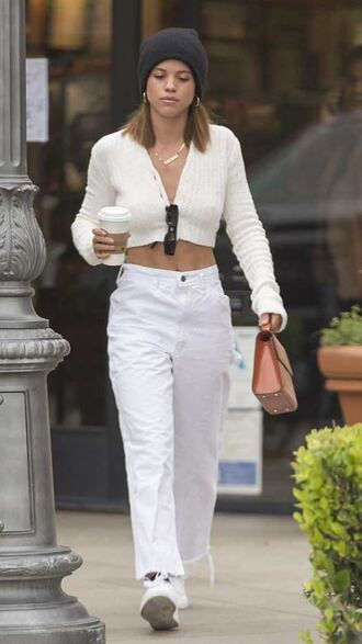 cardigan top white all white everything sneakers beanie sofia richie streetstyle model off-duty spring outfits
