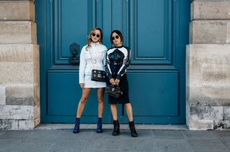 dress fashion week street style fashion week 2016 fashion week paris fashion week 2016 mini dress long sleeves long sleeve dress midi skirt black skirt top black and white boots black boots ankle boots sunglasses streetwear tumblr