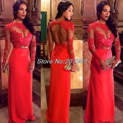 Online shop new vintage lace appliques long sleeves red evening dresses 2014 formal prom gown with sash vestido de festa cr45