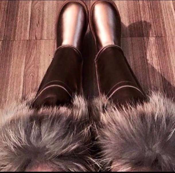shoes metallic boots fur boots ugg boots