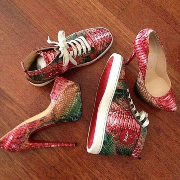 shoes colorful snake skin print snake skin high top sneakers high heels