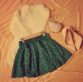 skirt,green,retro,floral,vintage,pleated skirt,sweater,shoes,bag,t-shirt,green skirt