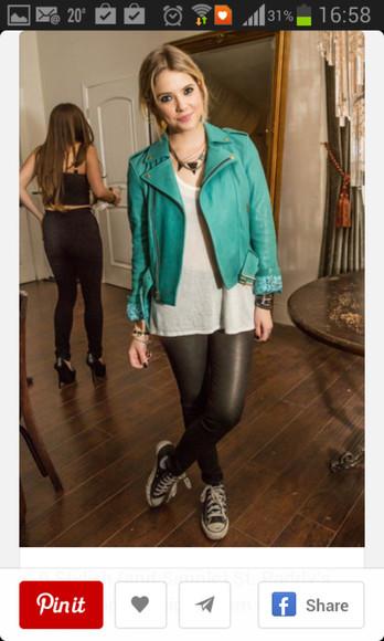 jacket green jacket ashley benson