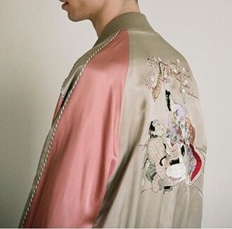 jacket bomber jacket chinese asian japan style embroidered beautiful fashion pink beige satin bomber satin nude tumblr instagram rad statement cozy casual artwork chic menswear unisex oversized
